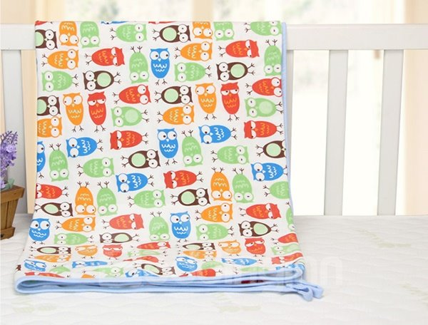 Cute Bouncy Owl Pattern 100% Cotton Baby Crib Sheet