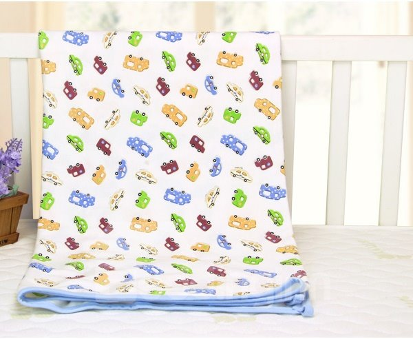 Lovely Car and Bus Pattern 100% Cotton Baby Crib Sheet