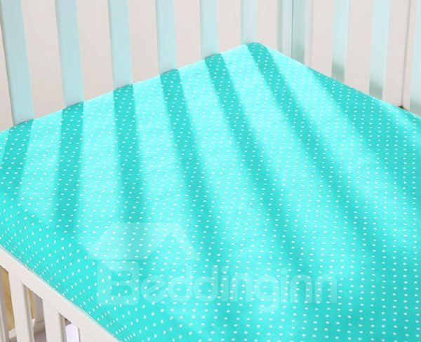 Adorable Lake Blue Polka Dot Pattern Cotton Baby Crib Sheet