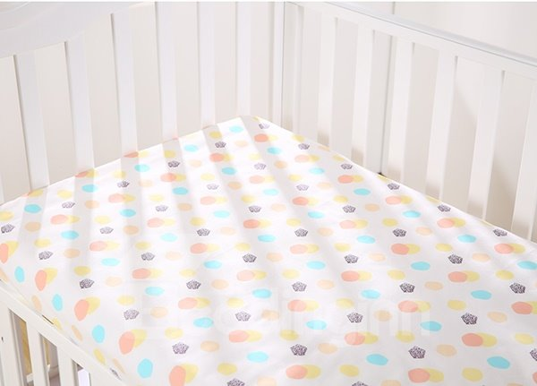 Lively Colorful Polka Dot Pattern Cotton Baby Crib Sheet