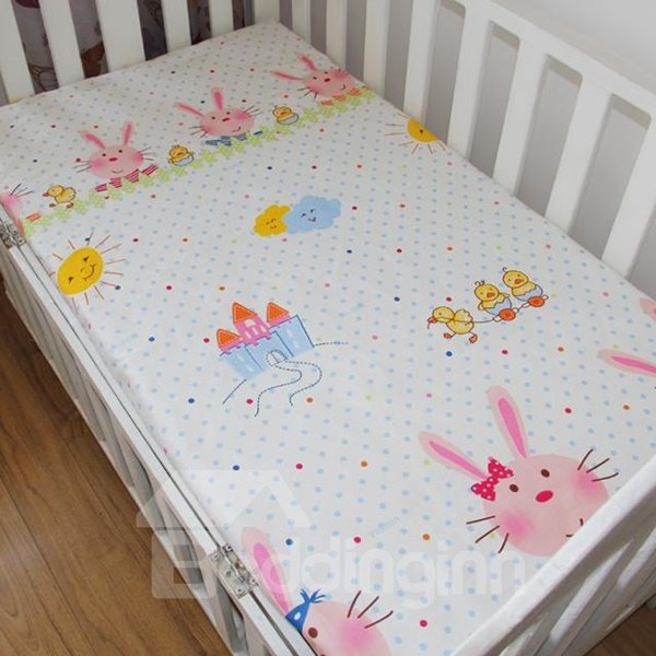Adorable Rabbit Pattern and Ducks Print 100% Cotton Baby Crib Sheet