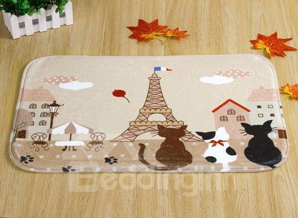 Cute Cartoon Cat and Tower Pattern Anti-Slipping Doormat
