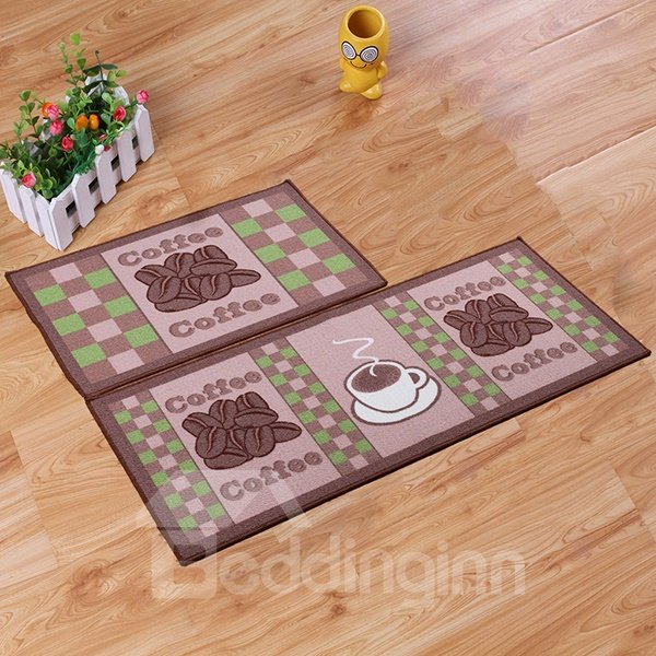 Wonderful Coffee Beans Patchwork Anti-Slipping Rugs 1 Set