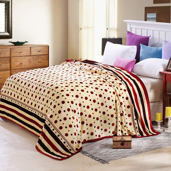 Polka Dots Print Muted Beige Bed Blanket