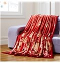 Beautiful Peonies Print Bright Red Blanket