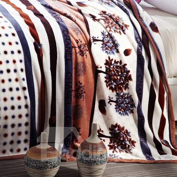 Brown Trees and Polka Dot Print Blanket