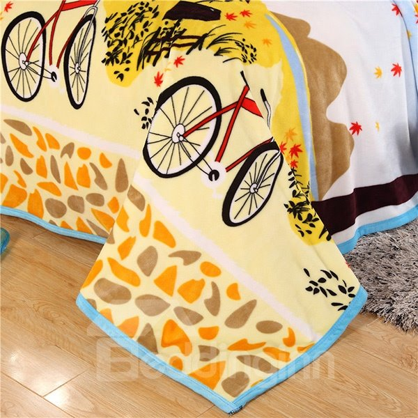 Bicycle and Maple Tree Scenery Print Blanket