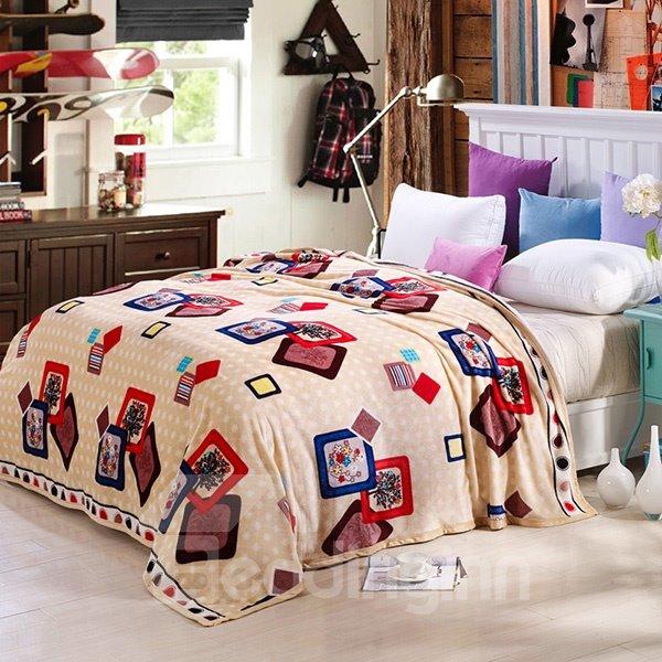 Creative Photo Frame Print Beige Bed Blanket