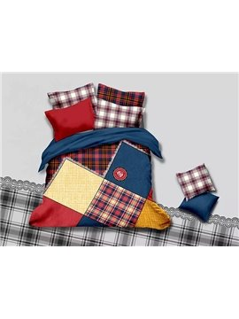 Stylish Concise Gingham Plaid 4-Piece Duvet Cover Sets