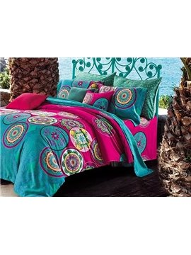 Beautiful Jacquard Print 100% Cotton 4-Piece Duvet Cover Sets