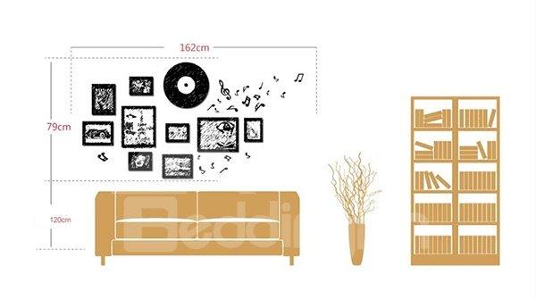 Wonderful Vinyl Records Wall Clock and Wall Photo Frames