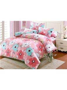 Fresh Lively Flower Pattern Kids 100% Cotton 4-Piece Duvet Cover Sets
