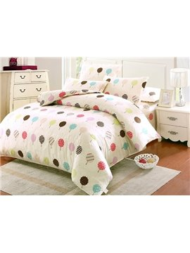 Colorful Candy Tree Pattern Kids 100% Cotton 4-Piece Duvet Cover Sets