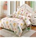 Elegant Colorful Flower Pattern Kids Cotton 4-Piece Duvet Cover Sets