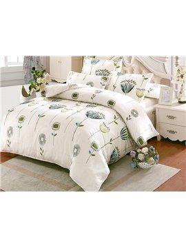 Elegant Flower Pattern Kids Cotton 4-Piece Duvet Cover Sets