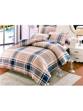 Chic Plaid Pattern Kids Cotton 4-Piece Duvet Cover Sets