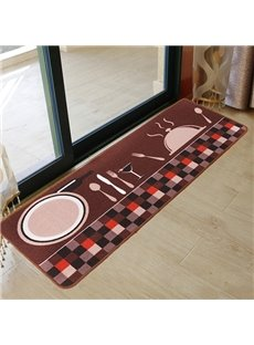 Wonderful Kitchen Dining Room Plate and Fork Pattern 3-Piece Area Rugs