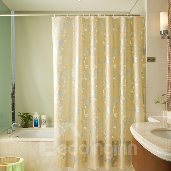 European Style Modern Silver Flowers Golden Background Shower Curtain