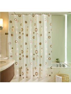 Modern Fashion Coffee Round Shape Dots Pattern Shower Curtain