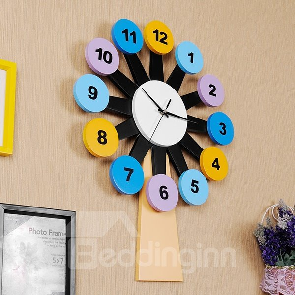Creative Colorful Windmill Design Kidsroom Wall Clock