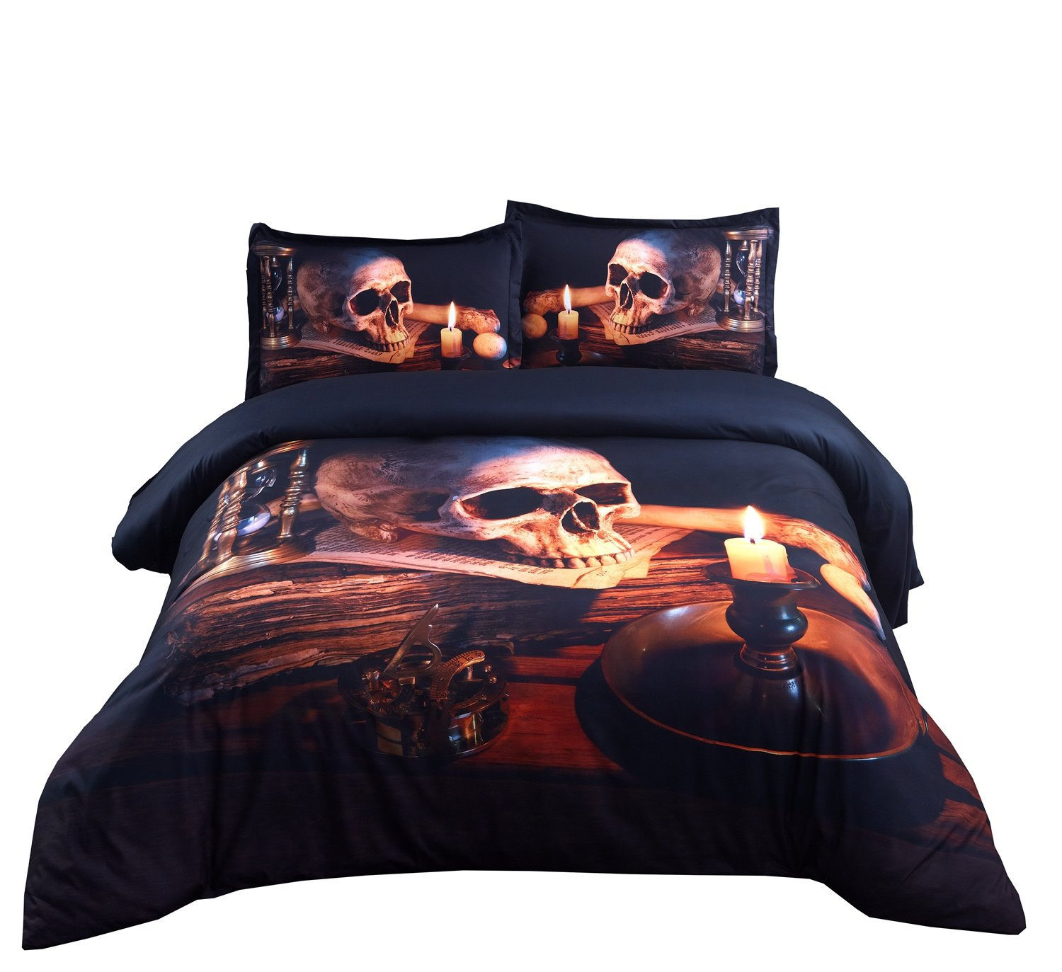 3D Skull and Candle Printed 5-Piece Halloween Comforter Sets