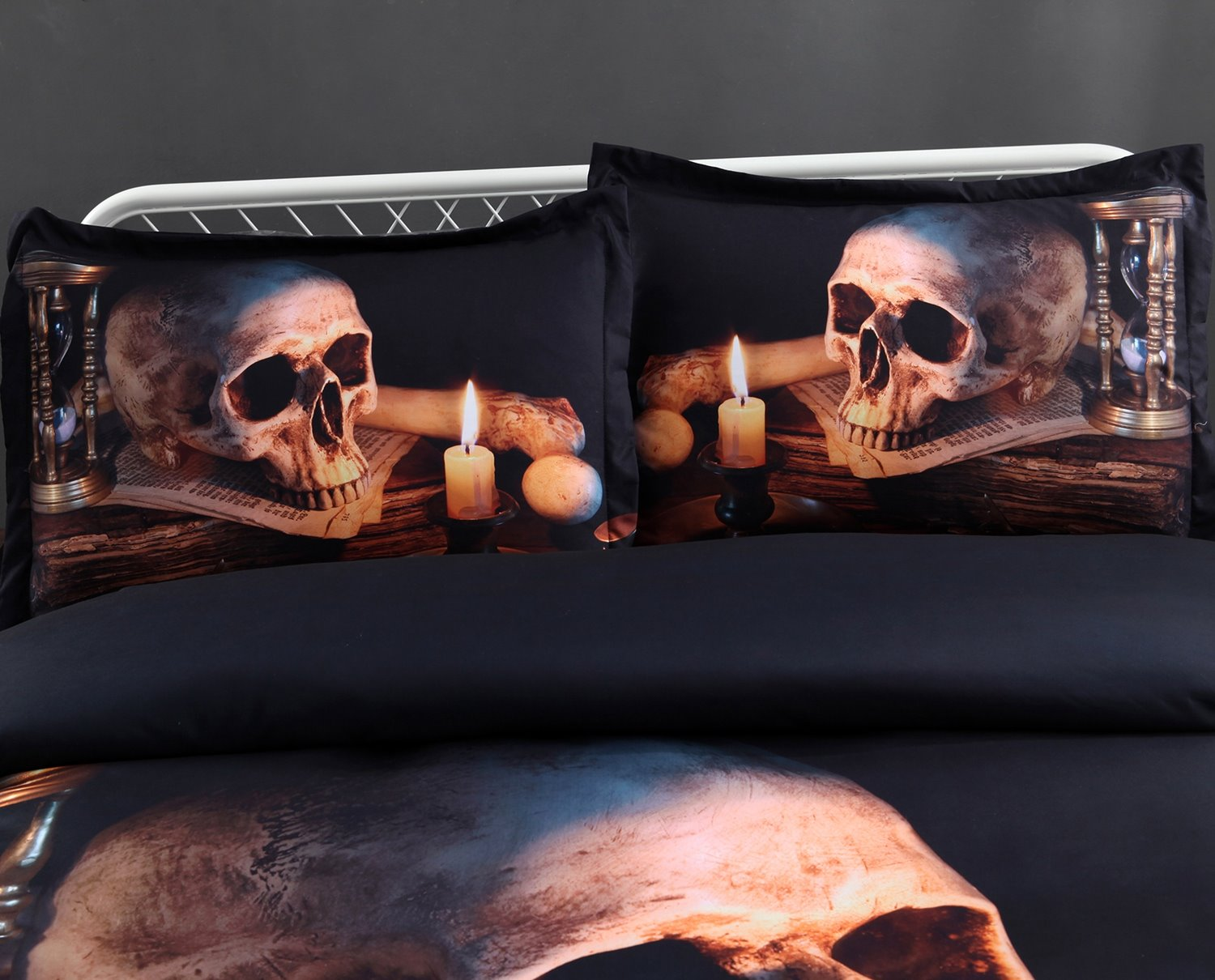 3D Skull and Candle Digital Printing 5-Piece Comforter Sets