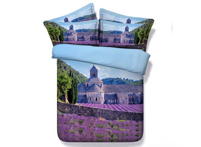 Romantic Purple Lavender Manor Print 5-Piece Comforter Sets