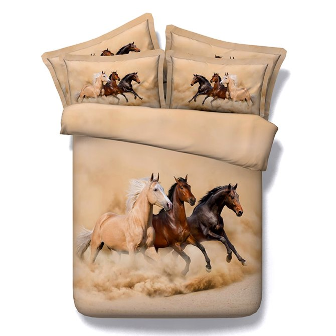 Running Horses Printing Brown 5-Piece Comforter Sets