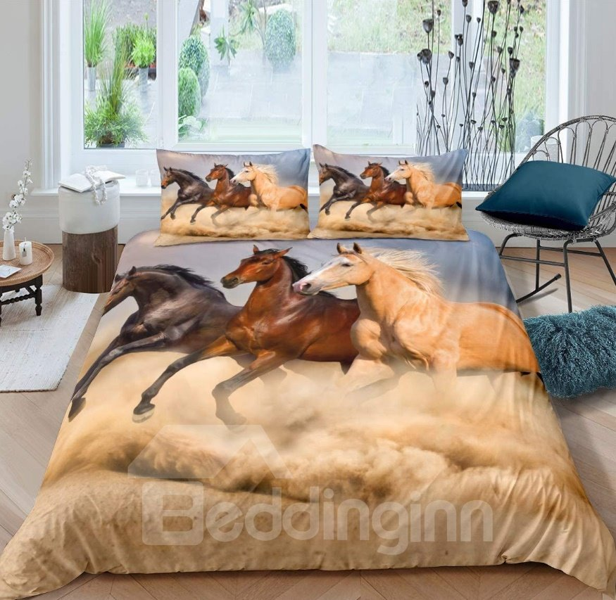 Running Horses Printing Brown 5-Piece Comforter Sets
