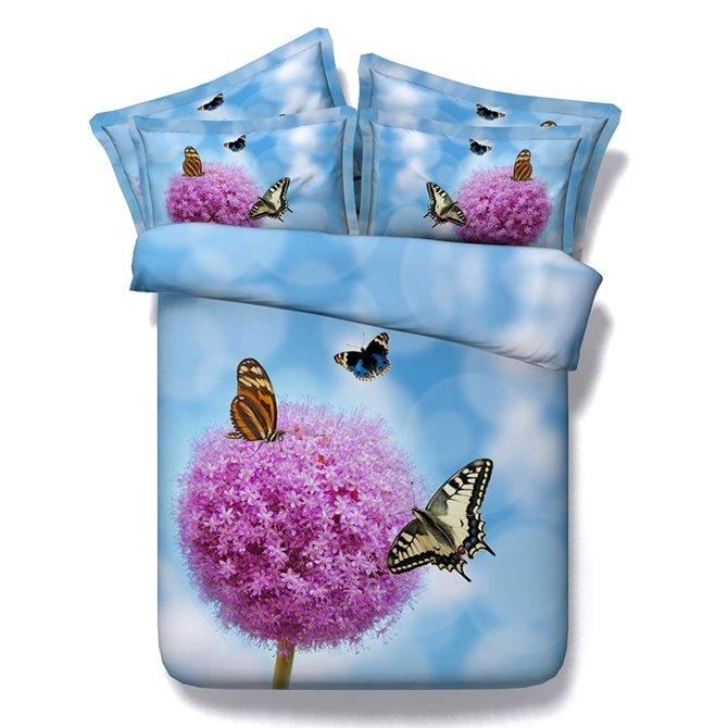 Beautiful Pink Flowers and Butterflies Print Blue 5-Piece Comforter Sets