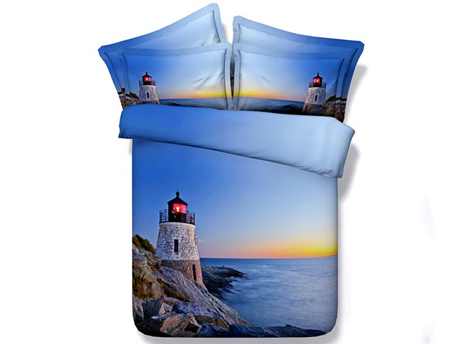 Lighthouse Sea Twilight Scenery Print Blue 5-Piece Comforter Sets
