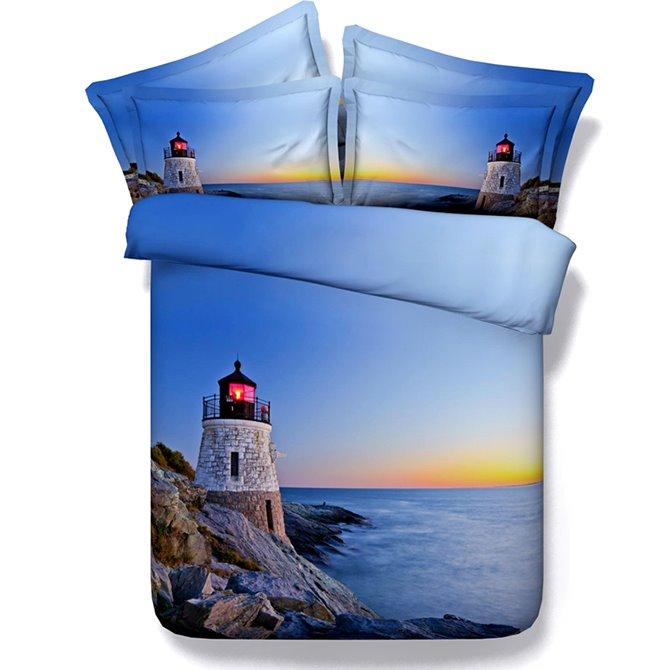 3D Lighthouse Sea Scenery Printed Blue 5-Piece Comforter Sets