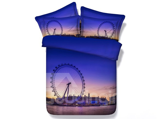 3D Ferris Wheel at Dusk Printed Cotton 4-Piece Bedding Sets/Duvet Covers