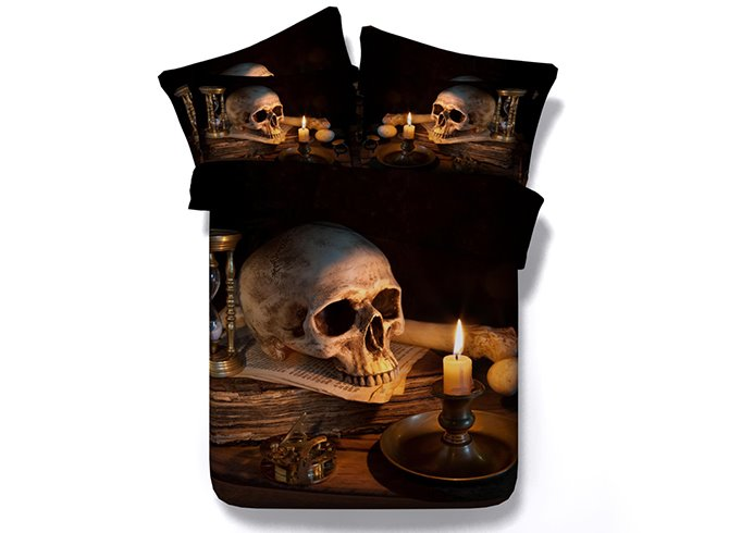 3D Skull and Candle Creepy Style Printed 4-Piece Halloween Bedding Sets/Duvet Covers