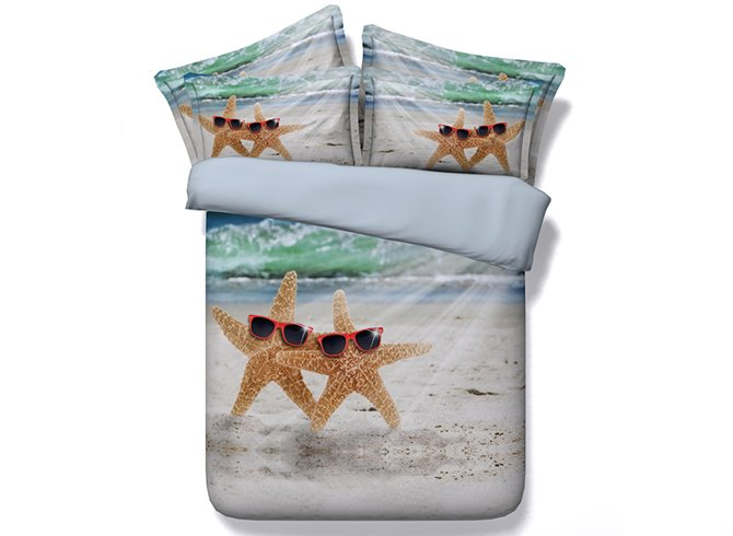 Starfish with Sunglasses Printed Cotton 3D 4-Piece Bedding Sets/Duvet Covers
