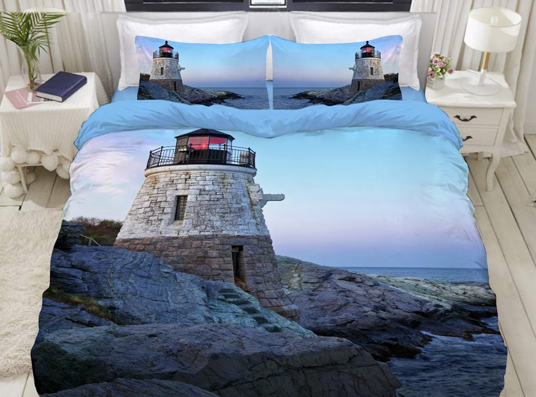 3D Lighthouse Sea Scenery Printed 4-Piece Bedding Sets/Duvet Covers