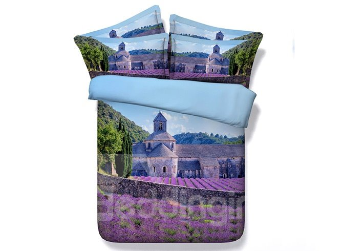 Purple Lavender Manor Print 4-Piece Duvet Cover Sets