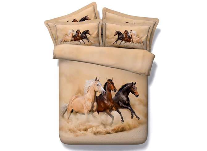 3D Three Running Horses Printed 4-Piece Bedding Sets/Duvet Covers