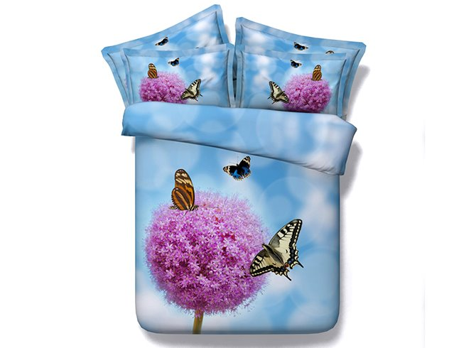 3D Pink Dandelion and Butterflies Printed Cotton 4-Piece Blue Bedding Sets
