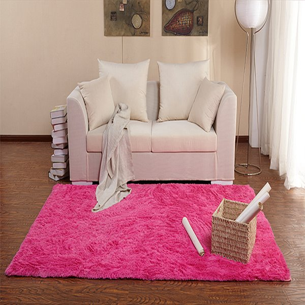 Modern Simple Bedroom Living Room Solid Color Thick Area Rug ...
