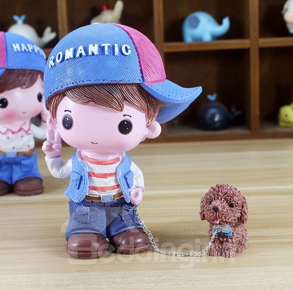 Sweet Young Boy and Girl Walking Dogs Resin Desktop Decoration