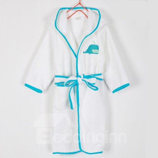 Purified Cotton Blue Whale Embroideried Bath Essential Kids Robe