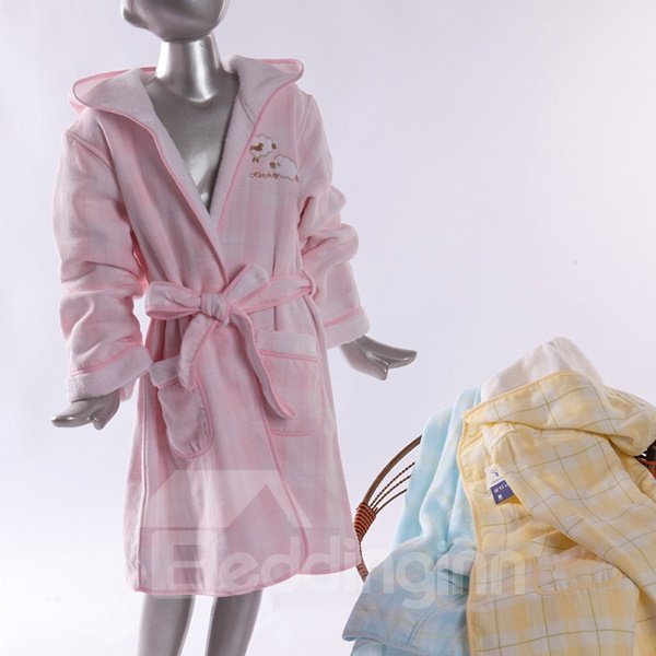 Lovely Plaid Pattern Purified Cotton Kids Bath Robe