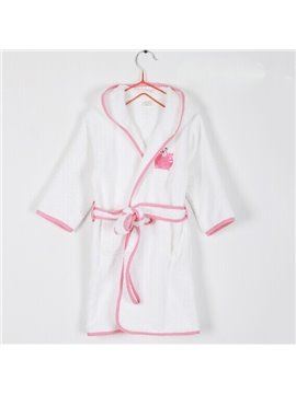 Lovely Frog Embroideried Purified Cotton Kids Robe