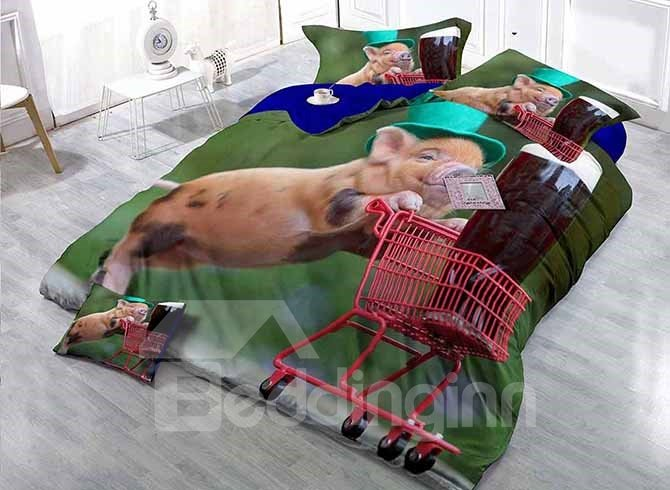 Happy Pig Pushing Cart Print Satin Drill 4-Piece Duvet Cover Sets