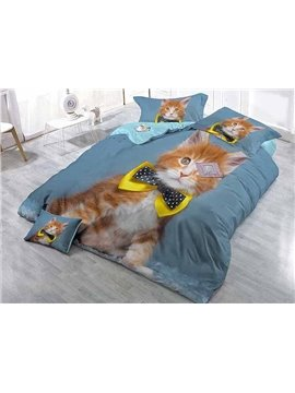 Gentle Cat Print Blue Satin Drill 4-Piece Duvet Cover Sets