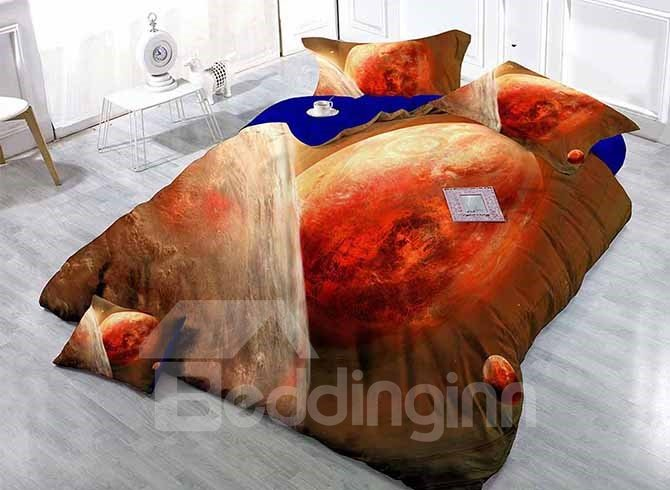 Luxury Satin Drill 4-Piece Duvet Cover Sets with Planets Print