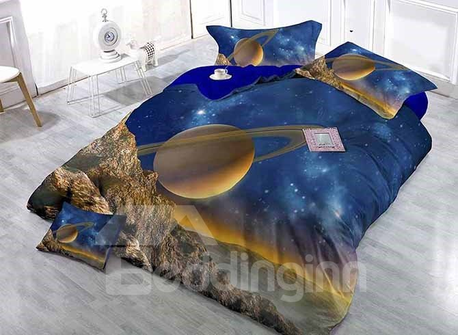 Chic Planet and Stars Print Satin Drill 4-Piece Duvet Cover Sets