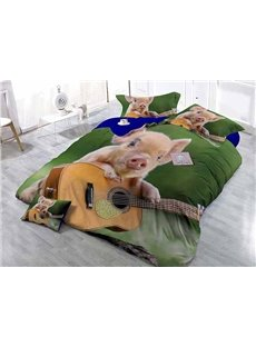 Creative Pig Playing the Guitar Print Satin Drill 4-Piece Duvet Cover Sets