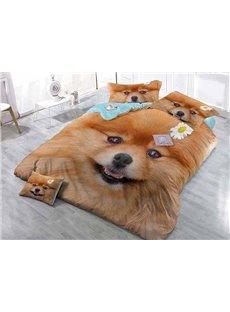 Lovely Smile Dog Print Satin Drill 4-Piece Duvet Cover Sets